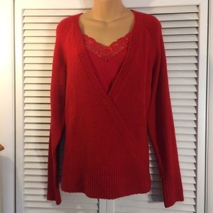 Red pullover sweater w/ lace tank attached insert